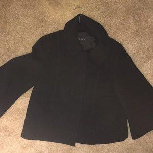 Black bell sleeve wool coat
